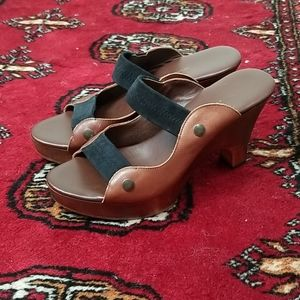 Cynthia Vincent leather and wood sandals